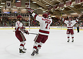 Tyler Moy (Harvard - 2), Lewis Zerter-Gossage (Harvard - 77), Adam Fox (Harvard - 18) - The Harvard University Crimson defeated the visiting Cornell University Big Red on Saturday, November 5, 2016, at the Bright-Landry Hockey Center in Boston, Massachusetts.