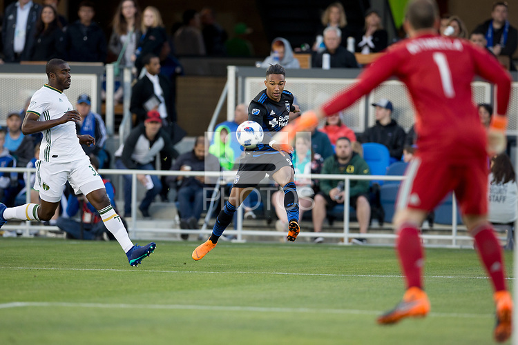 Santa Clara, CA - Saturday, May 5, 2018: The San Jose Earthquakes lost to the Portland Timbers 1-0 at the Avaya Stadium.