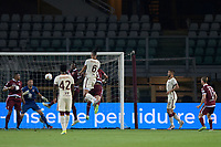 29th July 2020; Olympic Grande Torino Stadium, Turin, Piedmont, Italy; Serie A Football, Torino versus Roma; Chris Smalling of AS Roma leaps high and scores the goal for 1-2 for Roma with a header in the 23rd minute