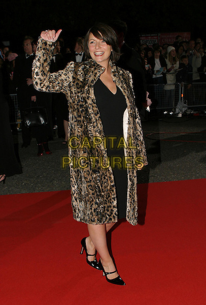 DAVINA MCCALL.National Television Awards, Royal Albert Hall.full length, full-length, long animal print, leopard print coat, shoes, waving.www.capitalpictures.com.sales@capitalpictures.com.© Capital Pictures.