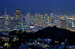 Downtown San Francisco illuminated at night from Tank Hill overview, San Francisco, California USA