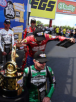 Sept. 14, 2012; Concord, NC, USA: NHRA pro stock motorcycle rider Hector Arana having fun trying to knock out his biggest competition Andrew Hines during qualifying for the O'Reilly Auto Parts Nationals at zMax Dragway. Mandatory Credit: Mark J. Rebilas-
