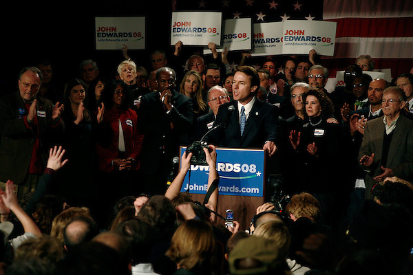 January 26, 2008. Columbia, SC.. John Edwards held a primary night party at Jillian's in Columbia. Coming a predicted 3rd place in the SC primary, he swore to continue his drive for the presidency.. Edwards' father, Wallace, is at far right.