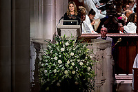 Jenna Bush Hager, the daughter of former President George Bush, speaks during the State Funeral for former President George H.W. Bush at the National Cathedral, Wednesday, Dec. 5, 2018, in Washington.<br /> CAP/MPI/RS<br /> &copy;RS/MPI/Capital Pictures