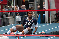 USA Paralympic sitting volleyball team member Nicky Nieves participates in a demo of the sport at the Road to London 100 Days Out Celebration in Times Square in New York City, New York, USA on Wednesday, April 18, 2012.  Times Square was transformed into an Olympic Village for the event.