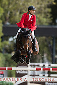 28th September 2017, Real Club de Polo de Barcelona, Barcelona, Spain; Longines FEI Nations Cup, Jumping Final; Niklaus RUTSCHI (SUI)  riding Cardano CH during the first round of the Nations Cup