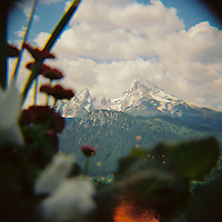 A view of the Watzmann from the small German village of Berchtesgaden.  The mountain is the third tallest in Germany and located in the German Alps.  This photo was taken using a Diana F+ Camera on 120mm film and processed in NYC.