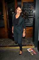 NON EXCLUSIVE PICTURE: MATRIXPICTURES.CO.UK.PLEASE CREDIT ALL USES..WORLD RIGHTS..Welsh model and TV personality Danielle Lineker (wife of ex-footballer Gary) is pictured on a night out at the Groucho Club in London...NOVEMBER 29th 2012..REF: AHT 125619 /NortePhoto