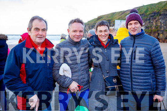 Paddy Fitzgerald, Denis Riordan, Karen Harnett and James Collins from Abbeyfeale attending the Fourth Annual Connie Harnett Memorial Swim in Ballybunion on New Years Day.