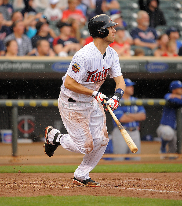 Minnesota Twins Joe Mauer (7) during a game against the Kansas City Royals on August 17, 2014 at Target Field in Minneapolis, MN. The Royals beat the Twins 12-6.