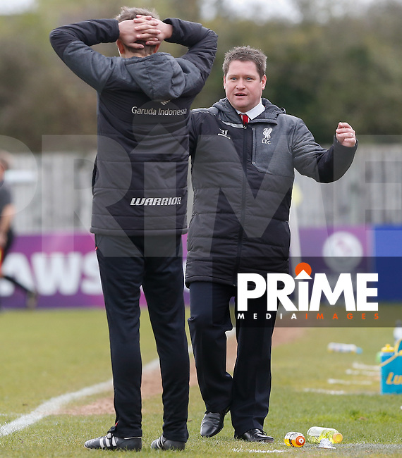 Liverpool Manager Matt Beard reaction as Liverpool miss a penalty during the Women FAWSL match between Chelsea Ladies and Liverpool Ladies at Wheatsheaf Park, Staines, England on 19 April 2015. Photo by Andy Rowland.