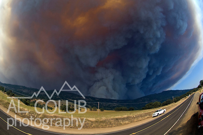 Bear Valley, California, July 26, 2008-Telegraph Fire near Yosemite National Park.Smoke rises over Mount Bullion and Fremont Ridge.  Image taken from Highway 49. Between Mt. Bullion and Bear Valley..Photo by Al GOLUB/Golub Photography.