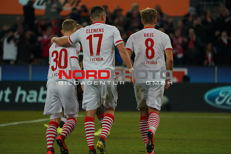 08.02.2019, RheinEnergieStadion, Koeln, GER, 2. FBL, 1.FC Koeln vs. FC St. Pauli,<br />  <br /> DFL regulations prohibit any use of photographs as image sequences and/or quasi-video<br /> <br /> im Bild / picture shows: <br /> Florian Kainz (FC Koeln #30), Christian Clemens (FC Koeln #17),     Johannes Geis (FC Koeln #8),  freuen sich ueber ein Tor fuer Koeln<br /> <br /> Foto © nordphoto / Meuter