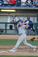 Matt Chapman (7) of the Stockton Ports bats during a game against the Rancho Cucamonga Quakes at LoanMart Field on June 13, 2015 in Rancho Cucamonga, California. Stockton defeated Rancho Cucamonga, 14-2. (Larry Goren/Four Seam Images)