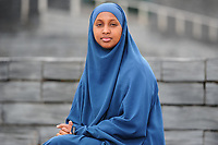 Pictured: Welsh language learner Mymuna Mohamood at Cardiff Bay, Cardiff, Wales, UK. Friday 17 May 2019