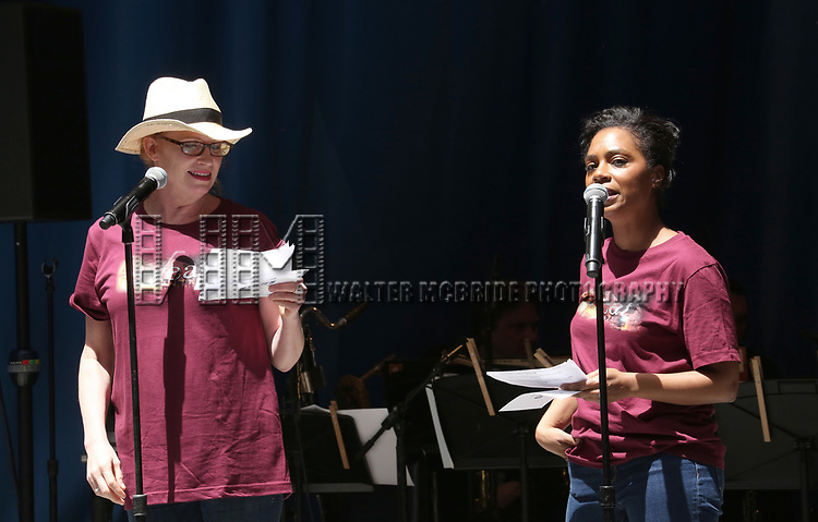 Johanna Day and Michelle Wilson on stage at United Airlines Presents #StarsInTheAlley free outdoor concert in Shubert Alley on 6/2/2017 in New York City.