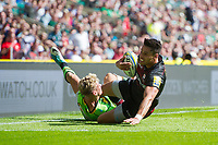 Sean Maitland of Saracens looks to reach the try-line for his second score. Aviva Premiership match, between Saracens and Northampton Saints on September 2, 2017 at Twickenham Stadium in London, England. Photo by: Patrick Khachfe / JMP
