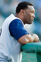 Charlotte outfielder Ernie Young (39) watches the action from the top step of the dugout versus Louisville at Louisville Slugger Field in Louisville, KY, Tuesday, June 5, 2007.