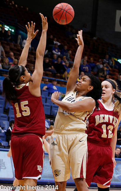 SIOUX FALLS, SD - MARCH 10:  Dawn Luster #32 of IUPUI shoots over Denver defender Alecia Espinoza #15  during their semifinal game at the 2014 Summit League Basketball Championships Monday at the Sioux Falls Arena. (Photo by Dick Carlson/Inertia)