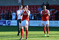Fleetwood Town&rsquo;s Ashley Eastham applauds the fans after the match.<br /> <br /> Photographer Leila Coker/CameraSport<br /> <br /> The EFL Sky Bet League One - Fleetwood Town v Walsall - Saturday 5th May 2018 - Highbury Stadium - Fleetwood<br /> <br /> World Copyright &copy; 2018 CameraSport. All rights reserved. 43 Linden Ave. Countesthorpe. Leicester. England. LE8 5PG - Tel: +44 (0) 116 277 4147 - admin@camerasport.com - www.camerasport.com
