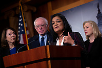 United States Representative Pramila Jayapal (Democrat of Washington) delivers remarks alongside United States Senator Bernie Sanders (Independent of Vermont), United States Representative Ro Khanna (Democrat of California), United States Representative Barbara Lee (Democrat of California), United States Senator Kirsten Gillibrand (Democrat of New York), United States Senator Patrick Leahy (Democrat of Vermont), United States Senator Chris Van Hollen (Democrat of Maryland), and United States Senator Maria Cantwell (Democrat of Washington) during a press conference on Capitol Hill in Washington D.C., U.S., on Thursday, January 9, 2020.  The lawmakers are working together on legislation that would prevent a war between the United States and Iran without congressional authorization.  <br /> <br /> Credit: Stefani Reynolds / CNP/AdMedia