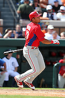 Philadelphia Phillies Carlos Rivero #73 during a spring training game against the Baltimore Orioles at Bright House Field in Clearwater, Florida;  March 6, 2011.  Photo By Mike Janes/Four Seam Images
