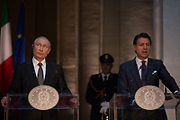 (From L to R) Vladimir Putin and Giuseppe Conte.<br />