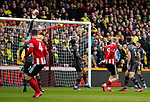 Oli McBurnie of Sheffield Utd forces a save from Tim Krul of Norwich City during the Premier League match at Bramall Lane, Sheffield. Picture date: 7th March 2020. Picture credit should read: Simon Bellis/Sportimage