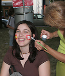 19 June 2006: A fan has the flags of both countries painted on her cheeks. Spain played Tunisia at the Gottlieb-Daimler Stadion in Stuttgart, Germany in match 31, a Group H first round game, of the 2006 FIFA World Cup.