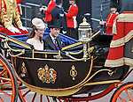 """PRINCE WILLIAM AND CATHERINE, DUCHESS OF CAMBRIDGE.take a carriage ride from Westminster Hall to Buckingham Palace after lunch, in celebration of the Queen's Diamond Jubilee_5th June 2012.Mandatory Credit Photo: ©S Hughes/NEWSPIX INTERNATIONAL..**ALL FEES PAYABLE TO: """"NEWSPIX INTERNATIONAL""""**..IMMEDIATE CONFIRMATION OF USAGE REQUIRED:.Newspix International, 31 Chinnery Hill, Bishop's Stortford, ENGLAND CM23 3PS.Tel:+441279 324672  ; Fax: +441279656877.Mobile:  07775681153.e-mail: info@newspixinternational.co.uk"""