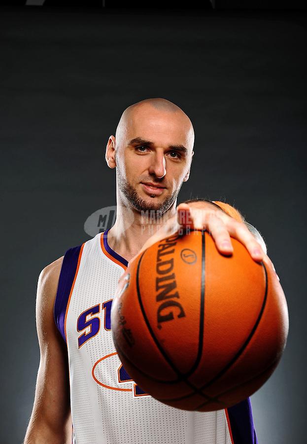 Dec. 16, 2011; Phoenix, AZ, USA; Phoenix Suns forward Marcin Gortat poses for a portrait during media day at the US Airways Center. Mandatory Credit: Mark J. Rebilas-