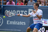 Washington, DC - August 3, 2014: Vasek Pospisil of Canada returns the ball in the Citi Open final at the Fitzgerald Tennis Center, August 3, 2014. Fellow Canadian Milos Raonic won in straight sets over Pospisil.   (Photo by Don Baxter/Media Images International)