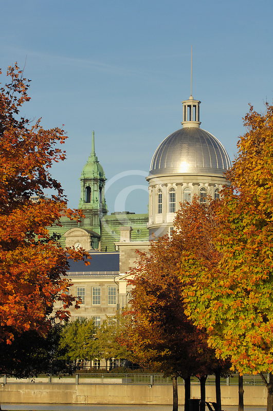 Canada, Montreal, Bonsecours Market with fall foliage