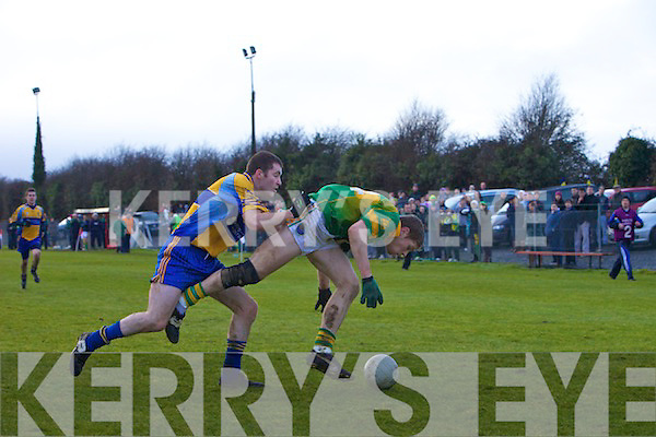 Damien Duffy, Drumhowan in Action with Gary O'Driscoll Skellig Rangers in the All Ireland Junior Semi-Final at Timahoe on Sunday 25th of January 2009