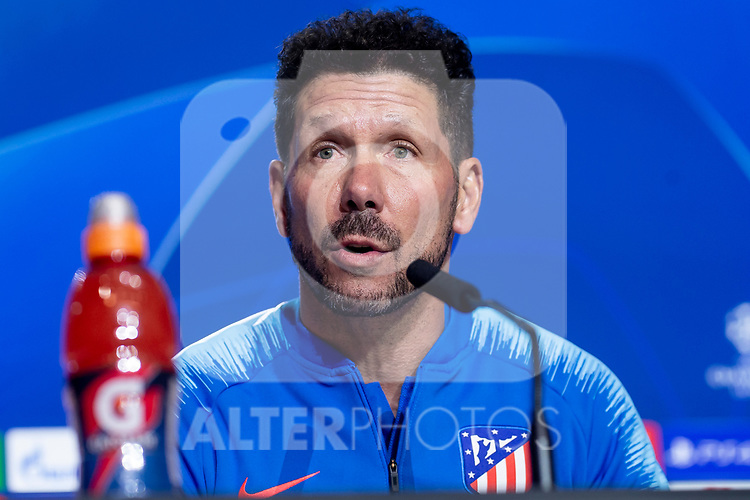 Atletico de Madrid coach Diego Pablo Simeone during press conference the day before UEFA Champions League match between Atletico de Madrid and Borussia Dortmund at Wanda Metropolitano in Madrid, Spain.November 05, 2018. (ALTERPHOTOS/Borja B.Hojas)