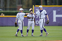 (L-R) Tim Mansfield (3), Josh Greene (1), and Brock Hammit (27) celebrate their win in game one of a double-header against the NJIT Highlanders at Williard Stadium on February 18, 2017 in High Point, North Carolina.  The Panthers defeated the Highlanders 11-0.  (Brian Westerholt/Four Seam Images)
