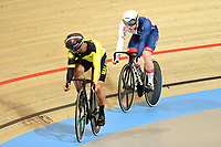 Picture by SWpix.com - 02/03/2018 - Cycling - 2018 UCI Track Cycling World Championships, Day 3 - Omnisport, Apeldoorn, Netherlands - Men's Sprint 1/16 - Mohd Azizulhasni Awang of Malaysia and Jack Carlin of Great Britain