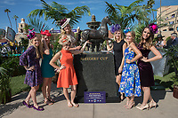 DEL MAR, CA - NOVEMBER 03: A group of ladies pose with the Breeders' Cup Trophy on Day 1 of the 2017 Breeders' Cup World Championships at Del Mar Thoroughbred Club on November 3, 2017 in Del Mar, California. (Photo by Jesse Caris/Eclipse Sportswire/Breeders Cup)