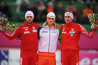 SCHAATSEN: HAMAR: Vikingskipet, 11-01-2014, Essent ISU European Championship Allround, 1500m Men, Konrad Niedzwiedzki (POL), Koen Verweij (NED), Zbigniew Bródka (POL), ©foto Martin de Jong