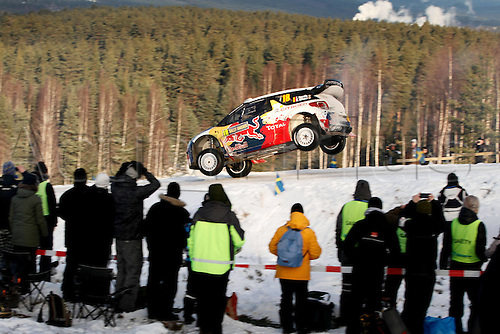 12.02.2012 Sweden.   Thierry Neuville Citroen DS3 WRC motor racing Rally World Cup Automobiles Rally of Sweden.