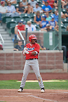 Jose Verrier (12) of the Orem Owlz at bat against the Idaho Falls Chukars at Melaleuca Field on July 14, 2019 in Idaho Falls, Idaho. The Owlz defeated the Chukars 6-2. (Stephen Smith/Four Seam Images)