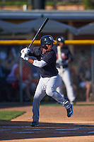 Tampa Yankees second baseman Abiatal Avelino (22) at bat during a game against the Lakeland Flying Tigers on April 7, 2016 at Henley Field in Lakeland, Florida.  Tampa defeated Lakeland 9-2.  (Mike Janes/Four Seam Images)