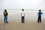 Spencer Blattel, Joe Marcus & Ian Simon, Looking Out At The Ocean On Santa Monica Beach