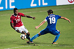 Awal Mahama of Pegasus (L) dribbles SC Kitchee Midfielder Yang Huang (R) during the week three Premier League match between Hong Kong Pegasus and Kitchee at Hong Kong Stadium on September 17, 2017 in Hong Kong, China. Photo by Marcio Rodrigo Machado / Power Sport Images