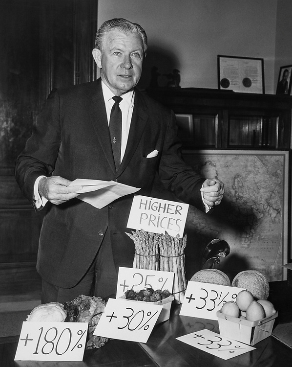 Sen. George Murphy, R-Calif. in office with vegetables and price board in 1966. (Photo by CQ Roll Call)