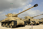Israel, American Sherman tanks on display at the Armored Corps Memorial Site and Museum in Latrun