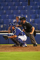 GCL Blue Jays catcher Owen Spiwak (59) and umpire Tyler Thurmond await the pitch during the second game of a doubleheader against the GCL Phillies on August 15, 2016 at Florida Auto Exchange Stadium in Dunedin, Florida.  GCL Phillies defeated the GCL Blue Jays 4-0.  (Mike Janes/Four Seam Images)