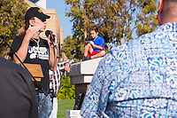 Mark Levin speaks to the crowd at the Occupy Orange County, Irvine camp on November 5.