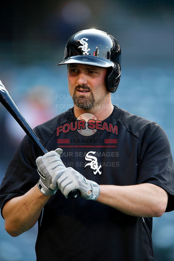 Paul Konerko #14 of the Chicago White Sox before a game against the Los Angeles Angels at Angel Stadium on May 17, 2013 in Anaheim, California. (Larry Goren/Four Seam Images)