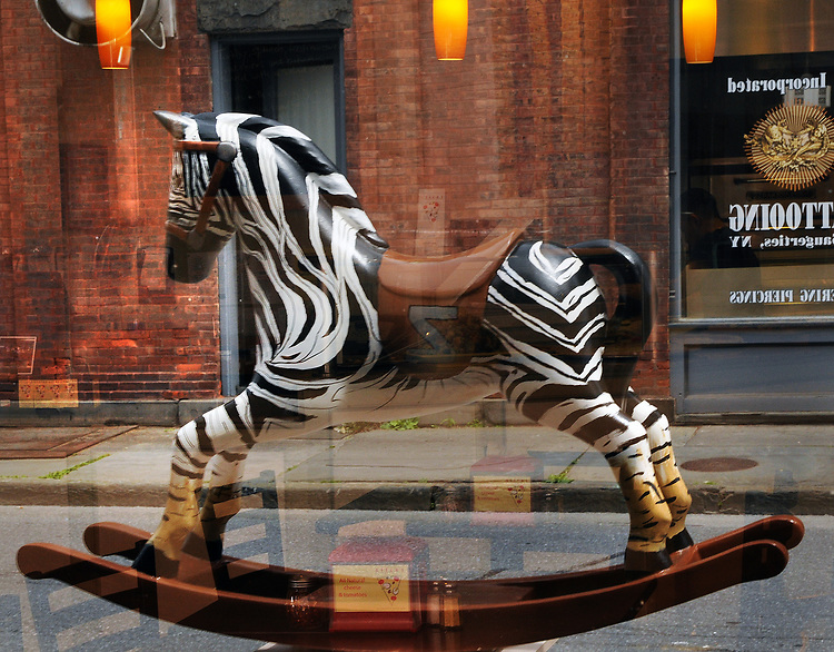 """A view of """"Stripes & Hooves,"""" created by Madelyn Decker, at 71 Partition Street, one of the """"Rockin' Around Saugerties"""" theme Statues on display throughout the Village of Saugerties, NY, on Friday, June 9, 2017. Photo by Jim Peppler. Copyright/Jim Peppler-2017."""
